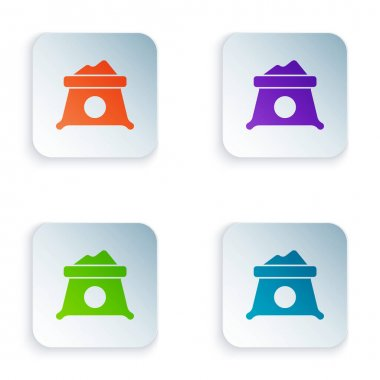 Color Bag of flour icon isolated on white background. Set colorful icons in square buttons. Vector. icon