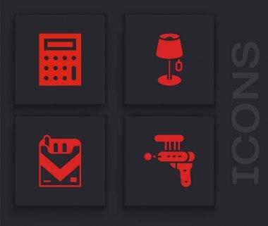 Set Ray gun, Calculator, Floor lamp and Cigarettes pack box icon. Vector icon