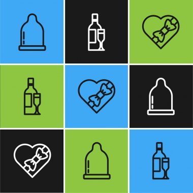 Set line Condom, Candy in heart shaped box and Champagne bottle icon. Vector icon