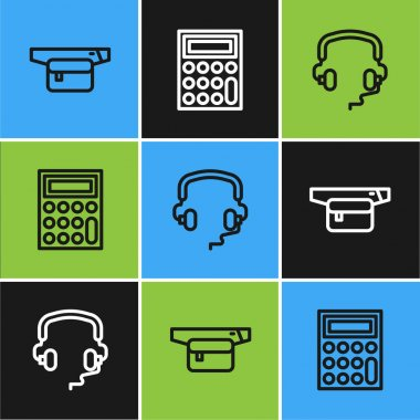 Set line Waist bag of banana, Headphones and Calculator icon. Vector icon