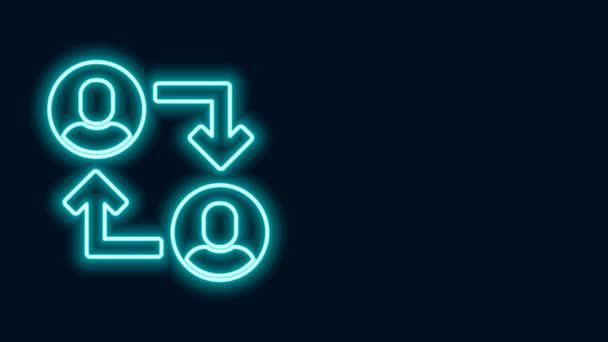 Zářící neonová čára Ikona základny projektového týmu izolovaná na černém pozadí. Obchodní analýza a plánování, poradenství, týmová práce, projektové řízení. Grafická animace pohybu videa 4K