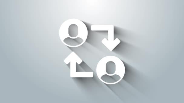 Ikona základny týmu White Project izolovaná na šedém pozadí. Obchodní analýza a plánování, poradenství, týmová práce, projektové řízení. Grafická animace pohybu videa 4K