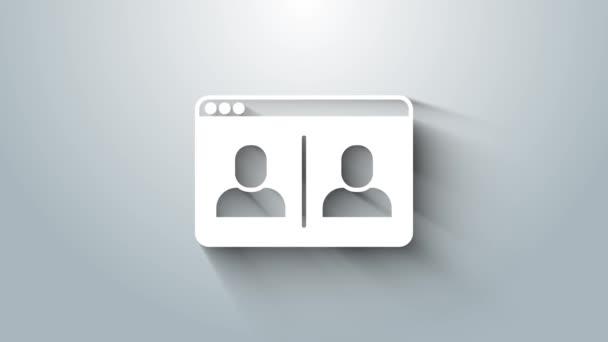 Ikona konference White Video chat izolované na šedém pozadí. Domovská stránka pracovní schůzky online. Správa vzdáleného projektu. Grafická animace pohybu videa 4K