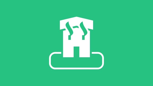 White Arson home icon isolated on green background. Fire in building. Flames from office windows. Burn facility. Spontaneous disaster. 4K Video motion graphic animation