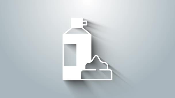 Bílý šlehačka v aerosolu může ikona izolované na šedém pozadí. Sladký mléčný výrobek. Mléčný výrobek a sladký symbol. Grafická animace pohybu videa 4K