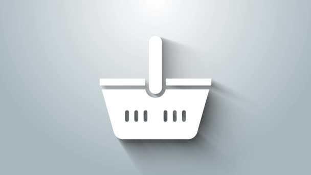 White Shopping basket icon isolated on grey background. Online buying concept. Delivery service sign. Shopping cart symbol. 4K Video motion graphic animation