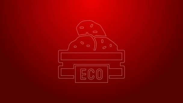 Zelená čára Dřevěný box pro ovoce a zeleninu ikona izolované na červeném pozadí. Grafická animace pohybu videa 4K