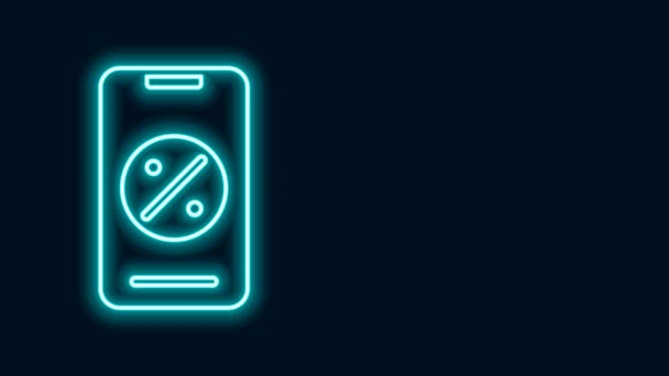 Glowing neon line Percent discount and mobile phone icon isolated on black background. Sale percentage - price label, tag. 4K Video motion graphic animation