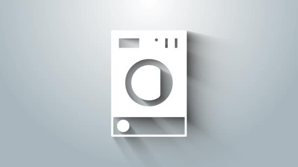 White Washer Symbol isoliert auf grauem Hintergrund. Waschmaschinensymbol. Kleiderwaschmaschine - Waschmaschine. Haushaltsgerätesymbol. 4K Video Motion Grafik Animation
