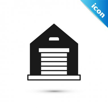 Grey Warehouse icon isolated on white background.  Vector
