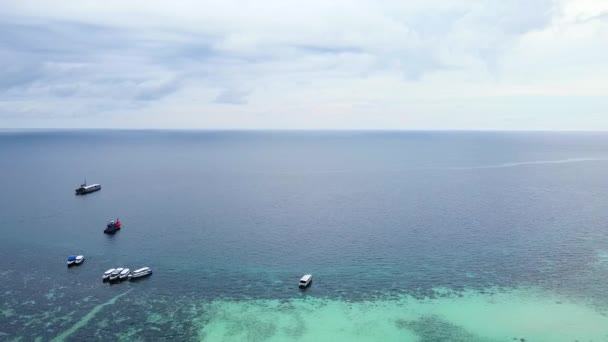 Turquoise Sea from Drone Aerial View in Andaman Sea with Yachts and Boats