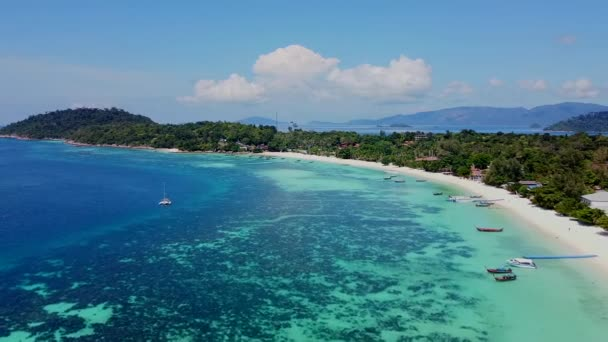 Aerial Drone View on Tropical Koh Lipe Island in Thailand, Amazing Blue Water