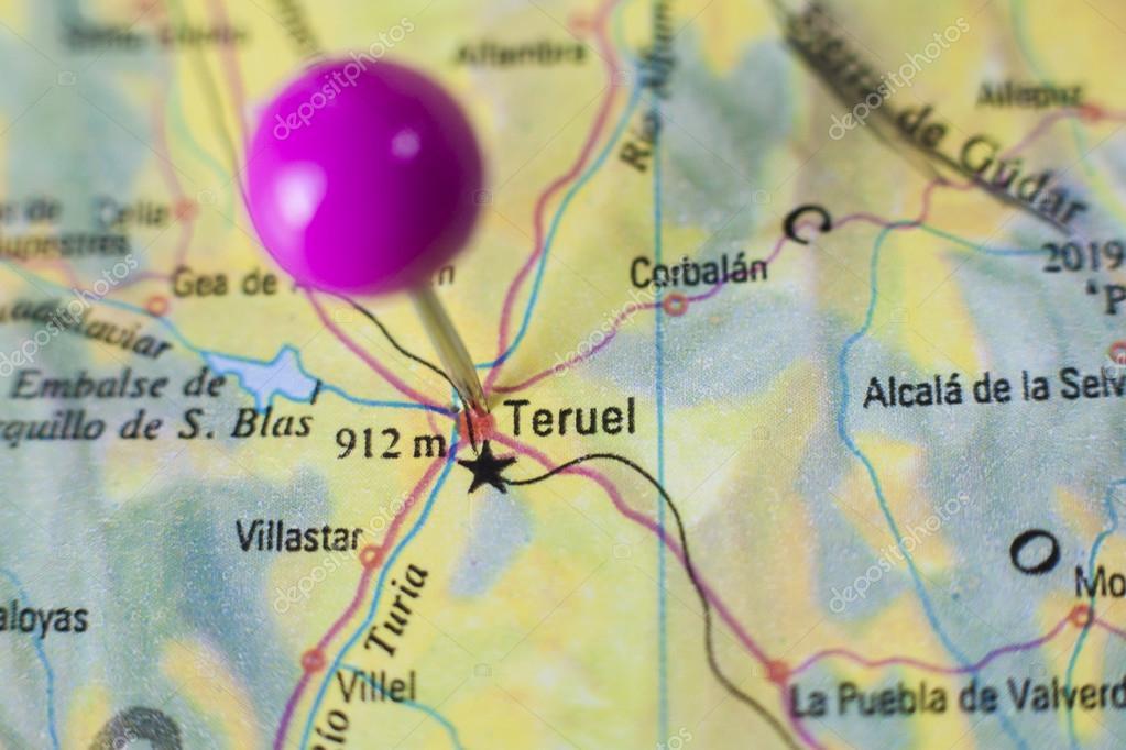 Teruel Spain Map.Pushpin Marking On Teruel Spain Stock Photo C Juan G Aunion