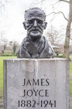 Dublin, Ireland - Feb 2ndth, 2020: James Joyce bust. Sculpted by Marjorie Fitzgibbon. St Stephen Green, Dublin, Ireland