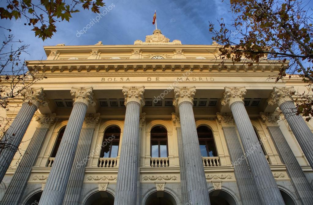 8cb92c5c6a Stock market facade with stone columns, Madrid, Spain — Photo by ...