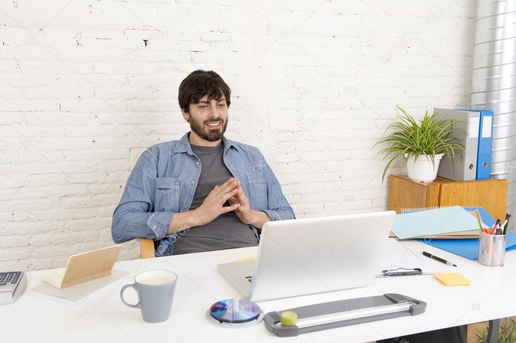 corporate home office. Corporate Portrait Of Young Hispanic Attractive Hipster Businessman On His 30s Working At Modern Home Office With Computer Laptop Looking Happy And