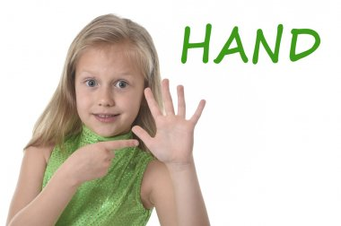 Cute little girl pointing her hand in body parts learning English words at school