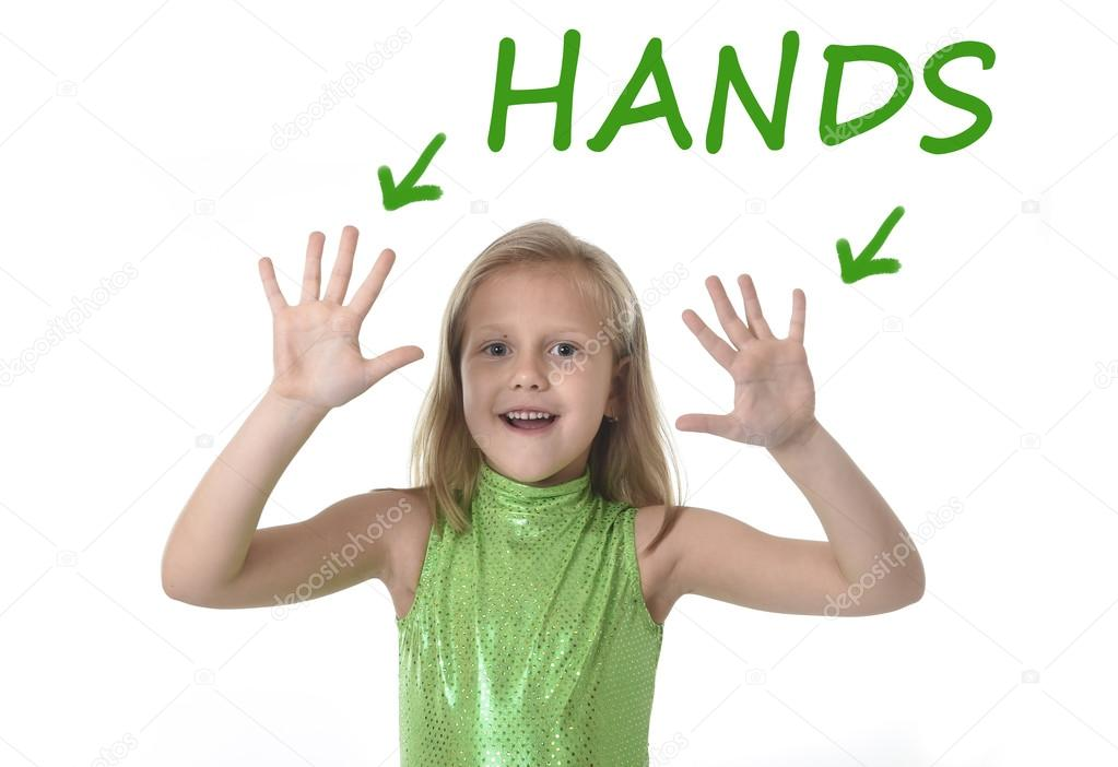 Cute Little Girl Showing Hands In Body Parts Learning English Words