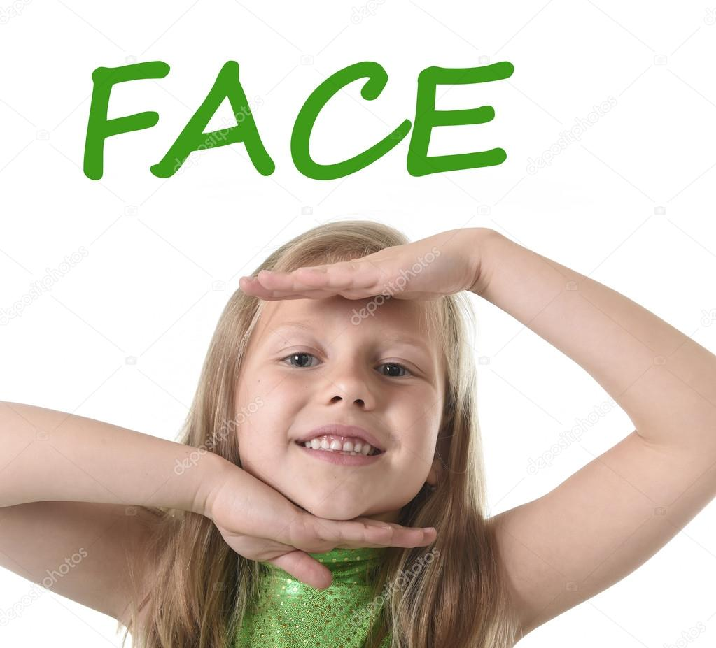 Cute Little Girl Showing Face In Body Parts Learning English Words