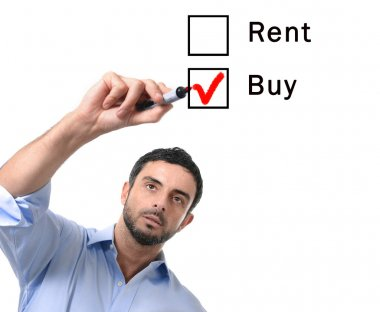 Business man choosing rent versus buy , renting vs buying , option at formular real estate concept