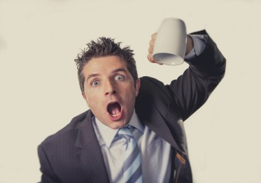 addict businessman holding empty cup of coffee in caffeine addiction concept