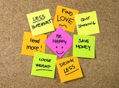 New year Resolutions Post it notes