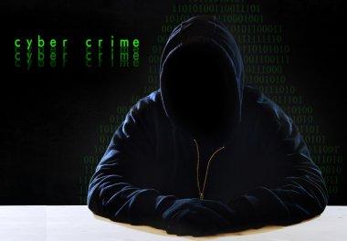 hacking expert man in hood as sensitive information cracker cyber crime concept