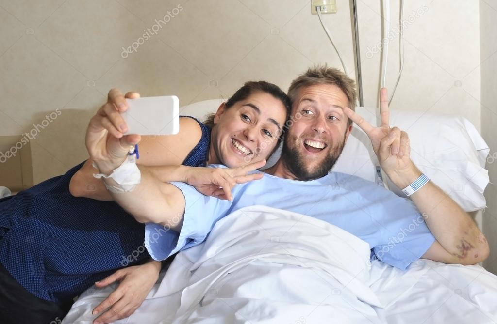 Hospital Bed Patient Hospital Room Selfie