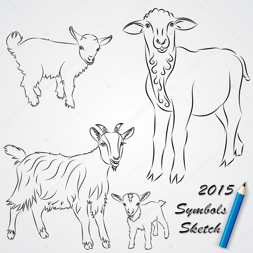 Sketches of goats | Vector sketch drawing of goats, Chinese