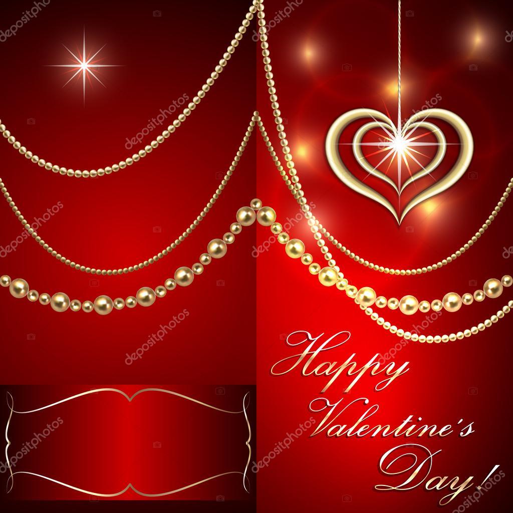 Wektor święty Walenty Czerwony Zaproszeniu Z Serca I Złotej