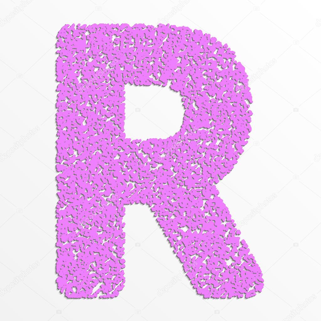 Vector multi color alphabet with grain texture, letter R