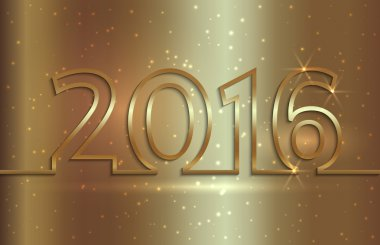 Vector illustration of 2016 new year greeting billboard with gold wire