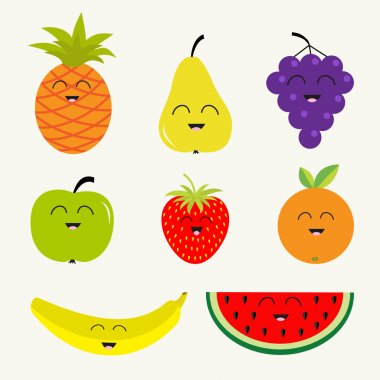 Fruits and berries set.  Cartoon character face. Banana, cherry, strawberry, orange, pineapple, grape, lemon, cherry, mellon, watermellon, blueberry, pear, raspberry, apple, slice.  Isolated. Flat design