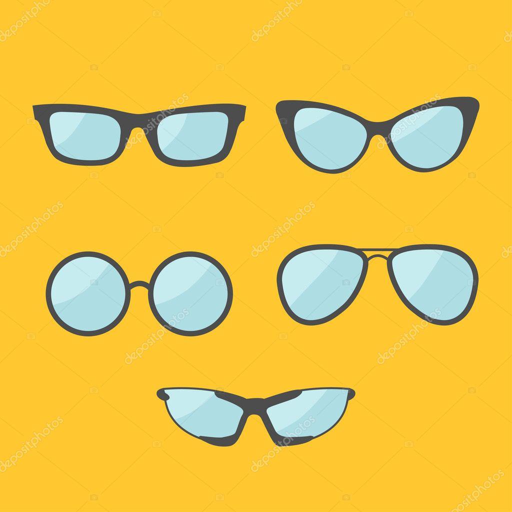 1c767622bc Set de gafas. Colección de iconos de las lentes. Fondo amarillo. Plano  diseño ilustración vectorial — Vector de ...