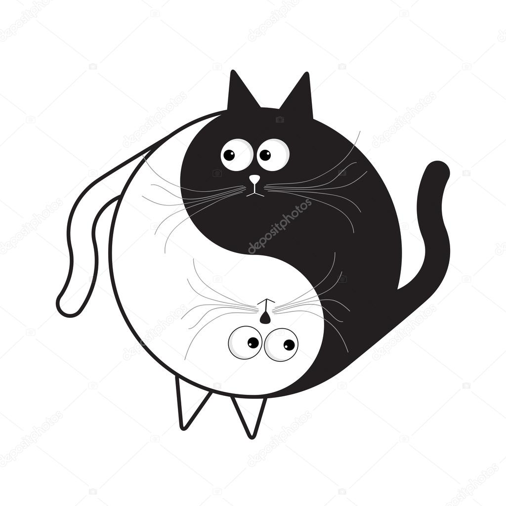 Gato De Dibujos Animados De Yin Yang Archivo Imágenes Vectoriales