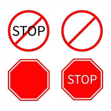 Red stop warning road signs