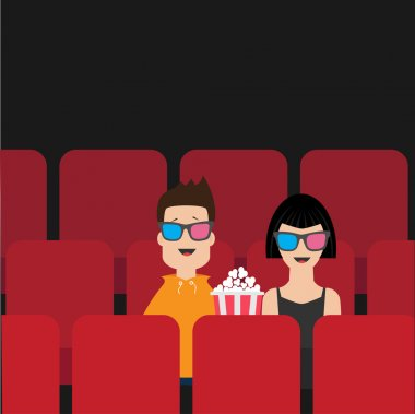 Couple sitting in movie theater
