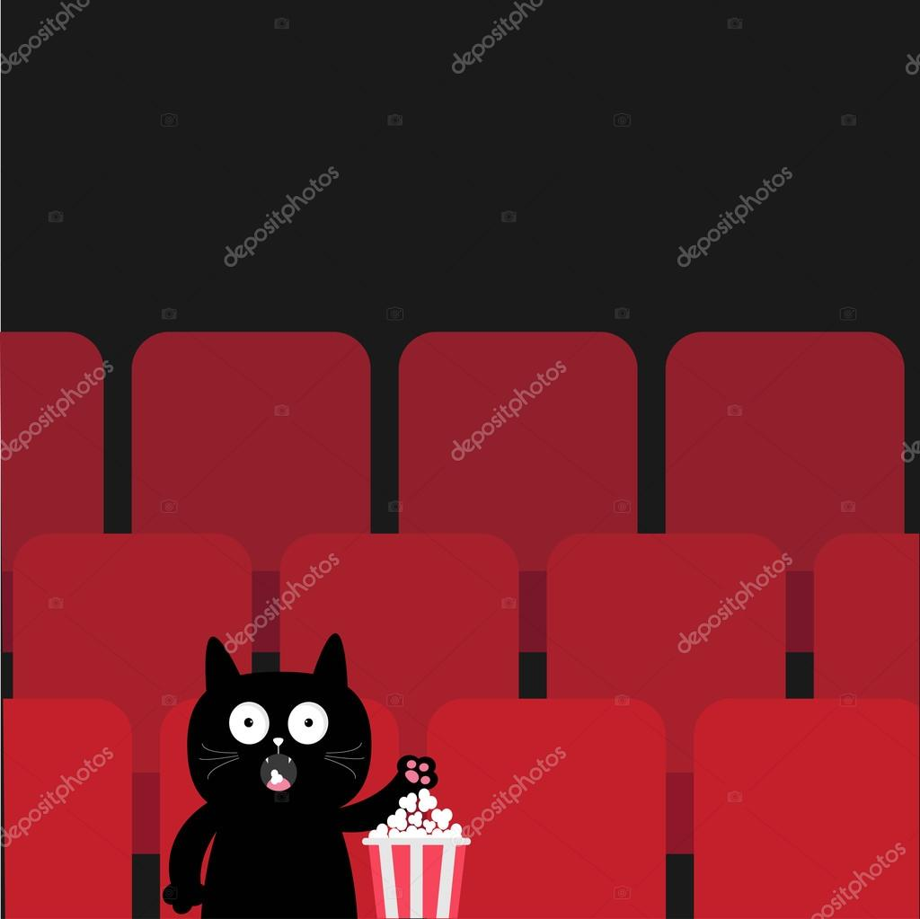 Cat In Movie Theater Eating Popcorn Stock Vector C Worldofvector 114072212