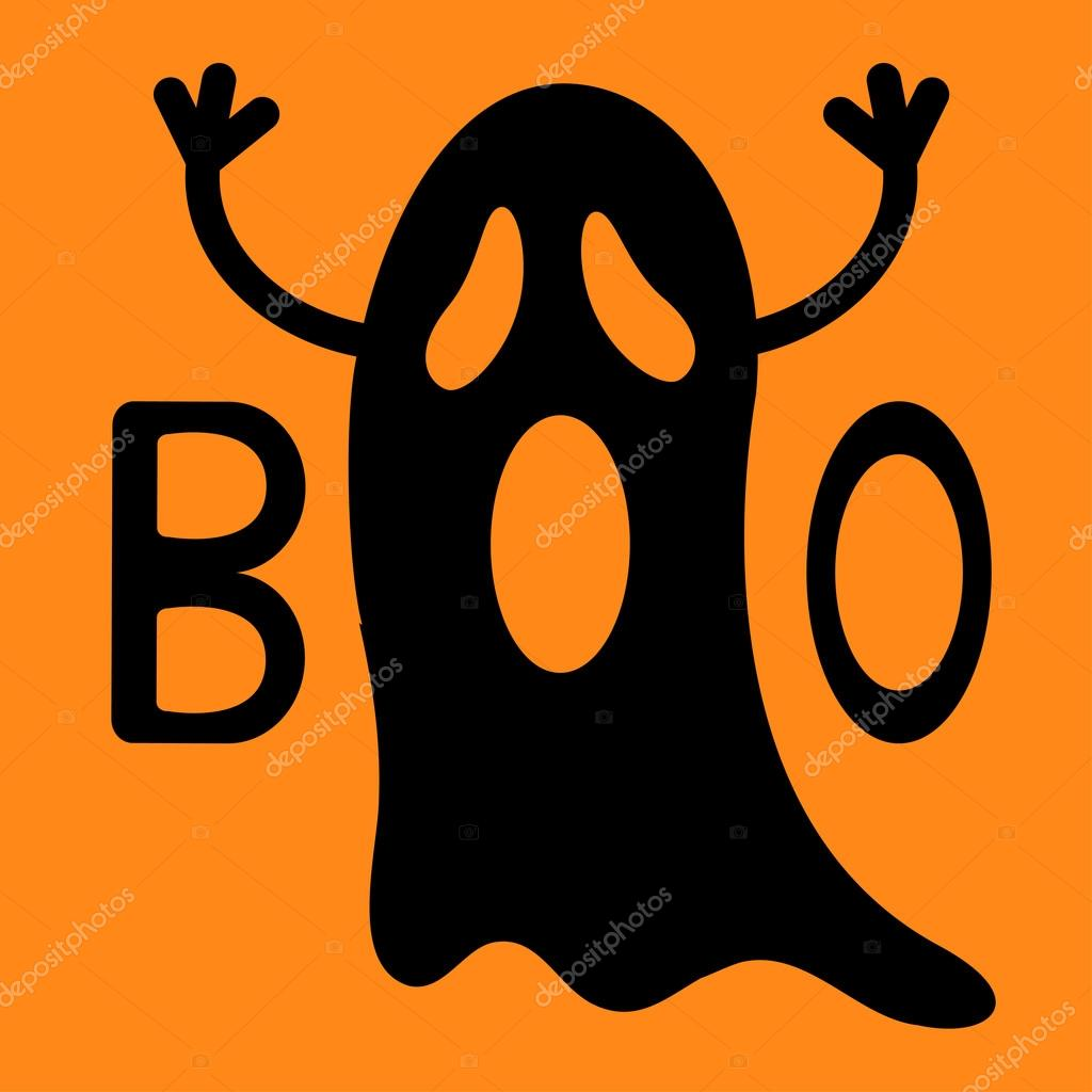 happy halloween funny black flying ghost with hands ストック