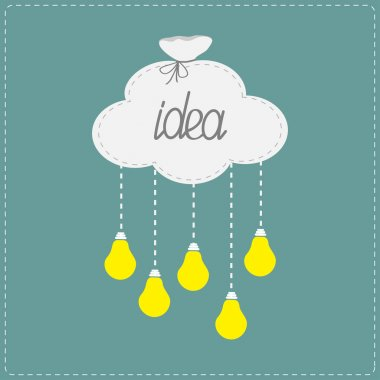 Cloud in shape of bag and hanging light bulbs. Innovation idea concept.