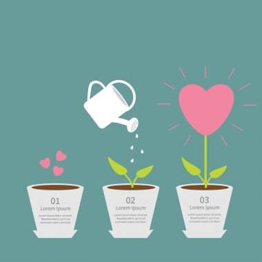 Heart seed, watering can, love plant. Growth concept.  Flat design infographic illustration stock vector