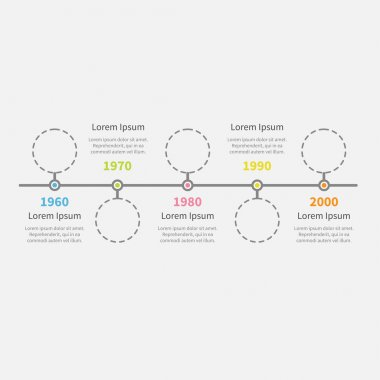 Timeline Infographic with empty dash line circles and text.