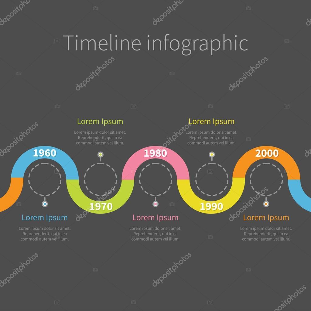 Timeline Infographik mit Multifunktionsleiste, leere Dash Linie ...