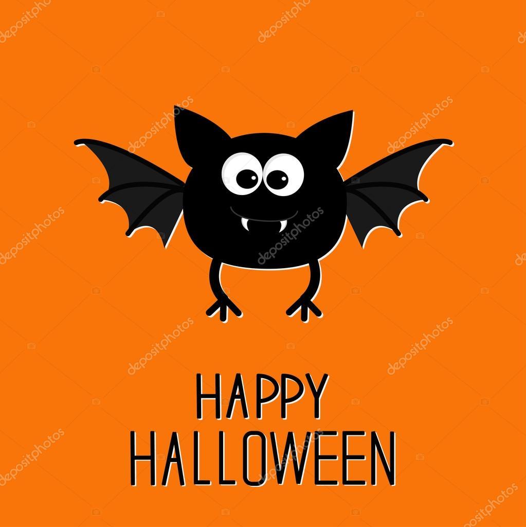 Pipistrello simpatico cartone animato felice carta di