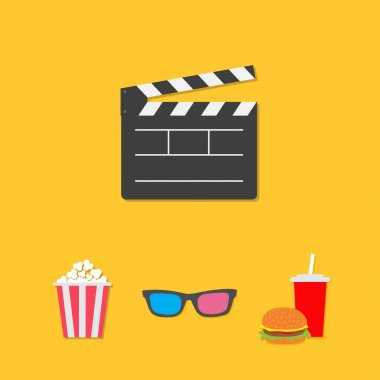 Open movie clapper board 3D glasses popcorn soda hamburger template icon.