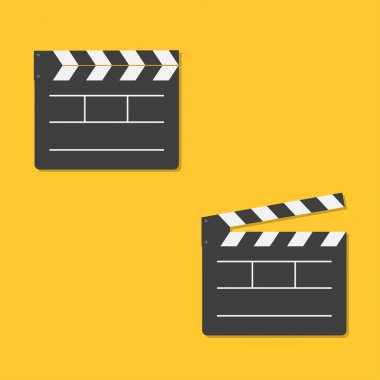 Close and open movie clapper board template icon.