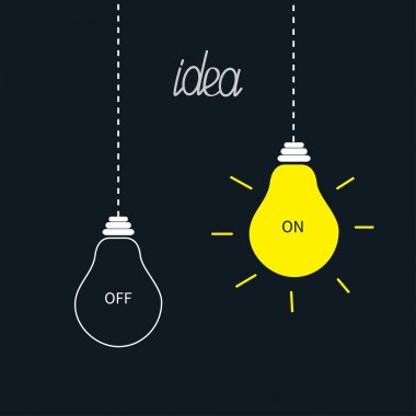 On and off bulbs in the dark. Idea concept.