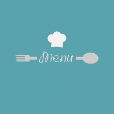 Fork, spoon word menu and chef hat card.