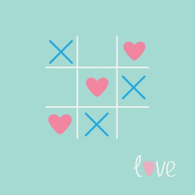 Tic tac toe game with cross and heart