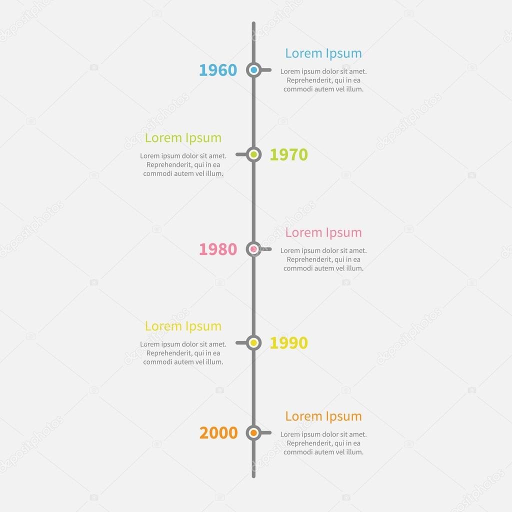 timeline vertical infographic with color text stock vector